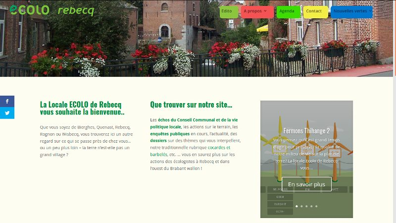 Présentation du site internet ECOLO Rebecq